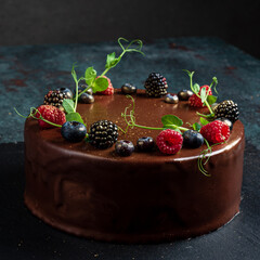 chocolate cake with blackberries and raspberries