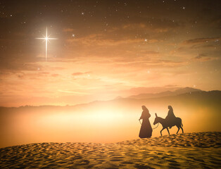 Nativity Christmas concept: Silhouette pregnant Mary and Joseph with a donkey on star of cross background