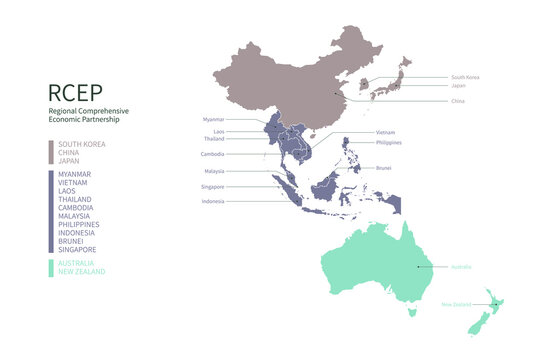 Infographic of RCEP participating countries. RCEP countries vector map.