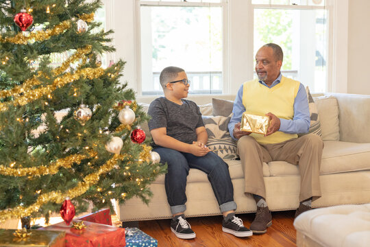 Grandfather and grandson sharing Christmas gifts at home