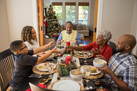 Family eating Christmas meal together