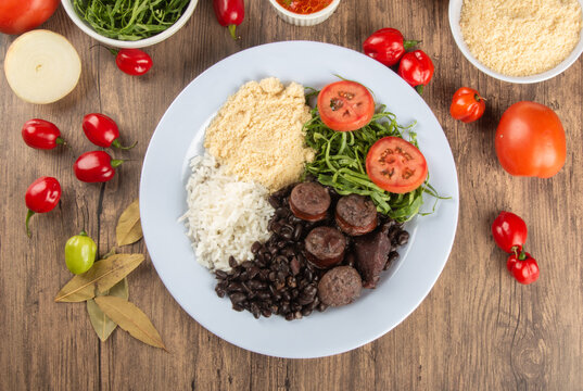 Feijoada. Traditional Brazilian food dish. Brazilian cuisine. Top view.