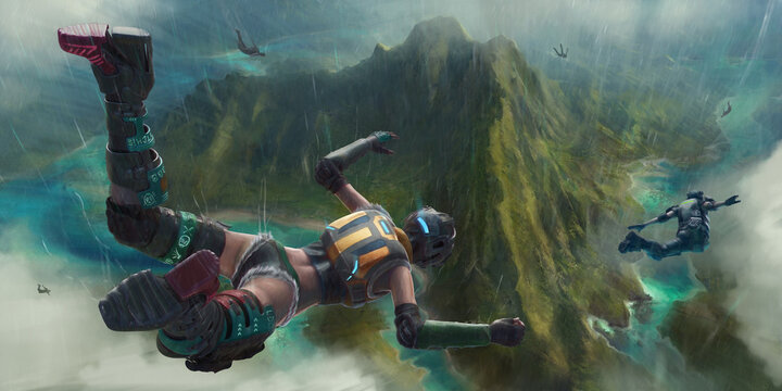 Heroic players parachute into the chaotic action of a virtual battlefield below. A fictional image showing a video game scene of players descending towards a tropical island.