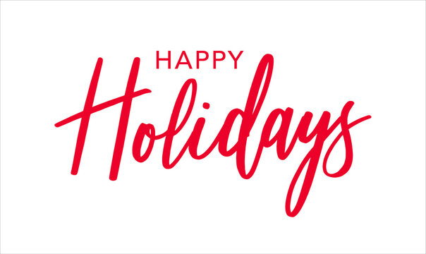 Happy Holidays Red Brush Calligraphy Vector Text Script, Horizontal Typography Banner