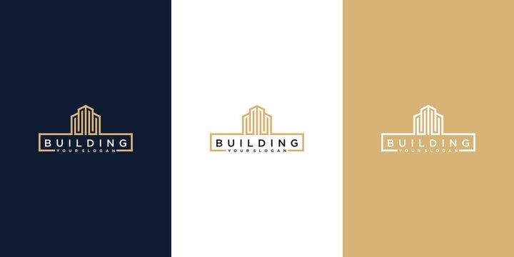 set of building logo line art