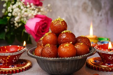 Homemade Gulab Jamun/ Diwali sweets, selective focus