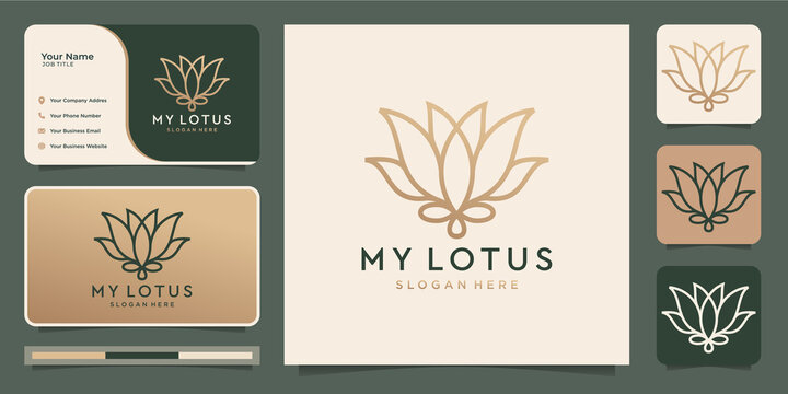 Minimalist flower lotus. luxury beauty salon,line art, fashion, skin care, cosmetic, yoga and spa products. logo templates and business card design.Premium Vector