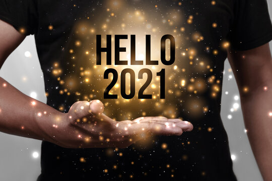Hello new year 2021 with hand.
