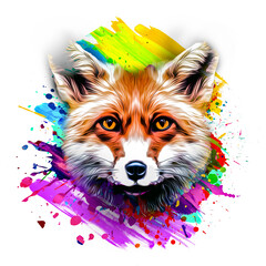 Fox's head illustration on white background with colorful creative elements