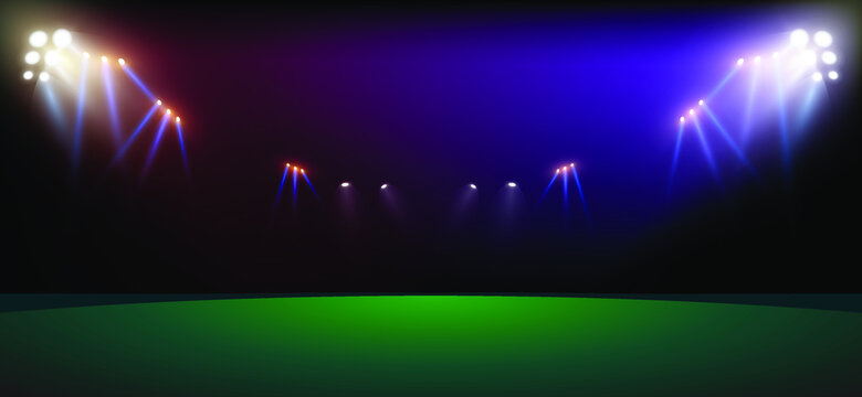Bright stadium arena lights. Sports stadium with lights, eps 10.