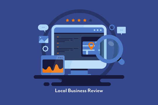 Local business store review, local seo for ecommerce website. Flat design modern marketing illustration.
