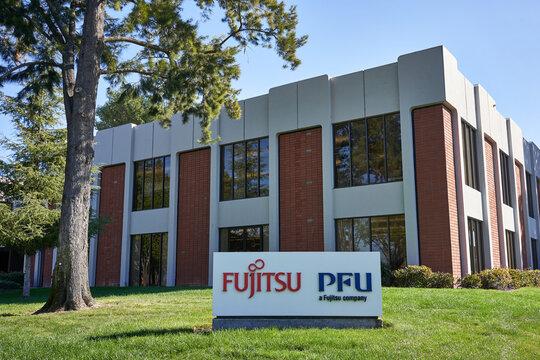 Sunnyvale, CA, USA - Feb 26, 2020: PFU America, Inc. Headquarters in Sunnyvale, California. PFU Limited is a Japanese information technology company and a wholly owned subsidiary of Fujitsu.