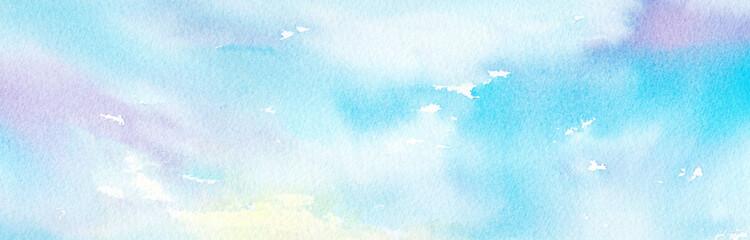 虹色の空 横長 水彩画