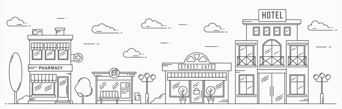 Vector landscape in line art style. Outline street with houses, building, tree and clouds. Cafe, pharmacy, hotel and bus stop. Illustration isolated on white background.
