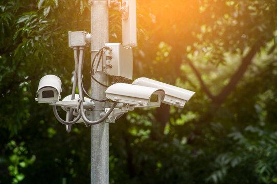 CCTV security surveillance camera on the pole