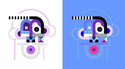 Two options of a geometric portrait of surprised man vector illustration. Colored design on a white and on a blue backgrounds.