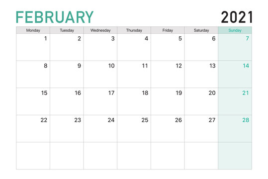2021 February illustration vector desk calendar weeks start on Monday in light green and white theme