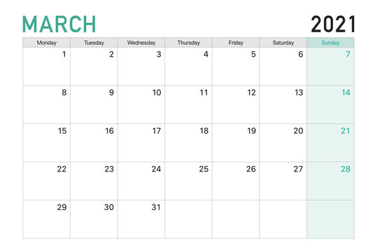 2021 March illustration vector desk calendar weeks start on Monday in light green and white theme