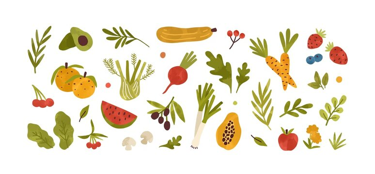 Set of different fresh vegetables, fruits, berries and salad greens. Collection of vitamin organic food. Healthy products. Flat vector cartoon illustration isolated on white background
