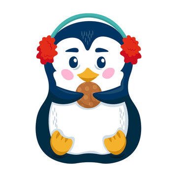 Cute penguin with earmuffs and cookie. Funny penguin cartoon character. Vector illustration.