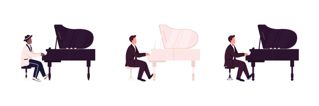 African and caucasian piano players flat color vector faceless character set. Classical, jazz musician. Live music concert isolated cartoon illustration for web graphic design and animation collection