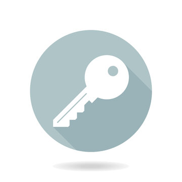 Blue and white vector key icon in the circle. Flat design and long shadow