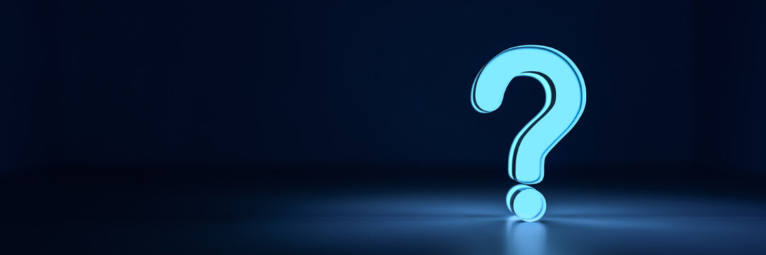 Blue glowing question mark on dark background with empty copy space on left side. 3D Rendering