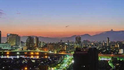 Wall Mural - 都市風景 福岡市 タイムラプス 夜明け