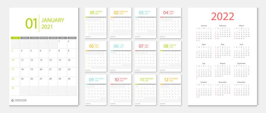 Calendar 2021 week start Sunday corporate design template vector.