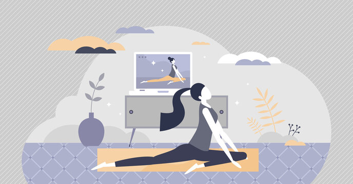 Online yoga exercise with distant instructor training tiny person concept