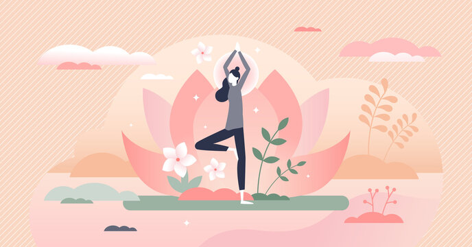 Holistic healing tree pose as calm mind mediation therapy tiny person concept
