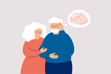 Elderly man with dementia needs help. Mature couple supports each other in the fight with amnesia and mental disorder. Memory loss concept. Vector illustration Wall mural