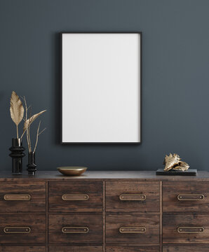 Mockup poster frame in modern interior background, 3d render