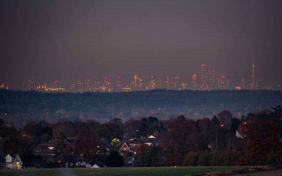 London skyline at night from rural residential location in Surrey