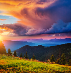 Wall Mural - Exotic landscape in the mountains at sunset. Picture of colorful cloudy sky.