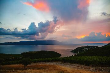 Wall Mural - Evening scene with dramatic sky. Location place of Kremena village, Croatia, Europe.