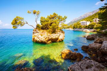 Wall Mural - Clear water of Adriatic sea in Brela resort. Location place Makarska riviera, Croatia, Europe.