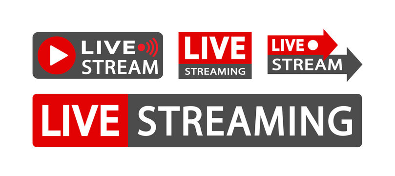 Set of live streaming icons Online Icon video broadcasting. Red and blacksymbols and buttons of live streaming, broadcasting, online stream. Symbols for news, TV, movies, shows