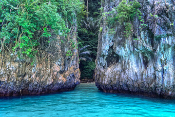 View from boat cliff on monkey beach , Krabi south of Thailand.