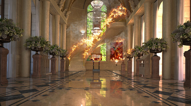 Interior of a cathedral, duomo, church on fire, 3d rendering, 3d illustration