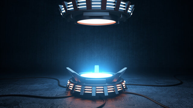 Product pedestal techno mockup design. Empty glowing podium, 3D stage with spotlights for product advertising.