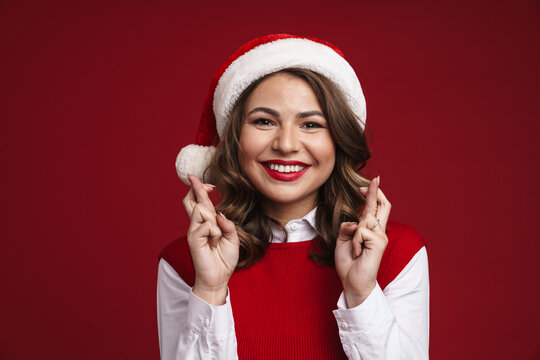 Worried young woman wearing xmas costume