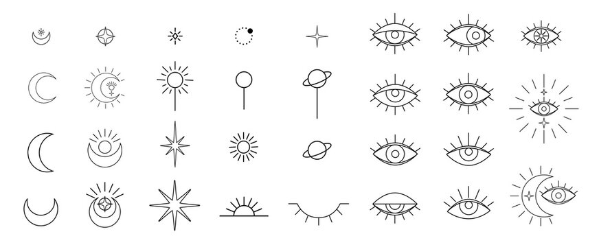 Evil seeing eye symbol set. Occult mystic emblem, graphic design tattoo. Esoteric sign alchemy, celestial bodies, providence sight, Vector eye boho design. Outline eyes symbols with moon, stars