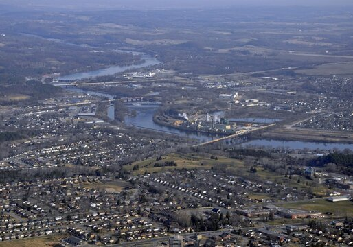 Aerial view of Trenton Ontario, neighborhoods and infrastructure along the River Trent in Ontario Canada early Spring