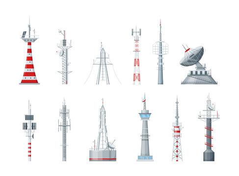 Communication towers set. Radio wireless masts and telecommunication towers, radio tv antenna. Communication satellite antenna, wireless television broadcast isolated