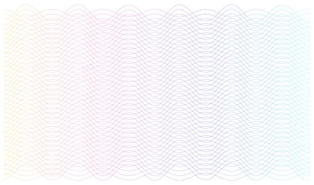 Soft rainbow color. Linear background. Design elements. Poligonal lines. Guilloche