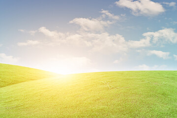 Green grass field and blue sky with white clouds. Beautiful natural meadow landscape