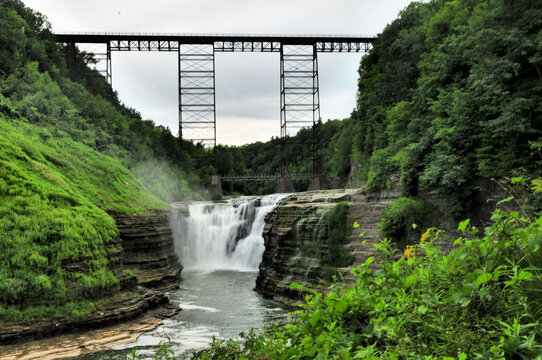Bridge over the upper falls at Letchworth State Park in upstate New Yo
