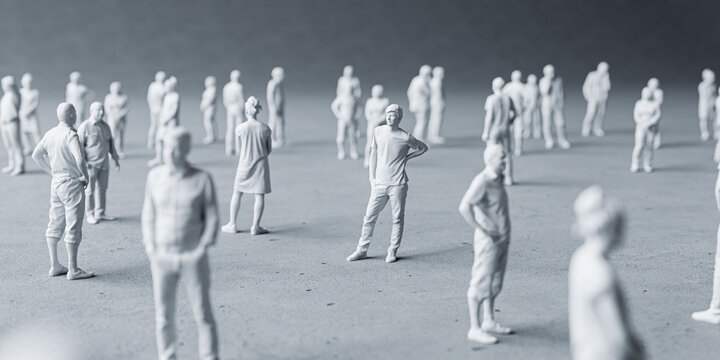 Miniature people social distancing concept to avoid coronavirus covid-19 sars-cov2 spread aroung the country Small miniature people on graycolor background distanced each other. 3d rendering