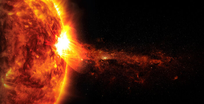 Sun on space background. Elements of this image furnished by NASA.